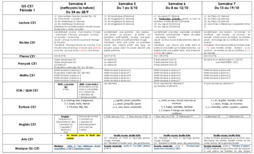 Organisation GS-CE1 Période 1 (de la semaine 4 à la semaine 7)