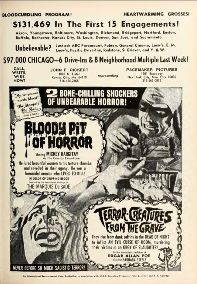 BLOODY PIT OF HORRORS box office usa 1968