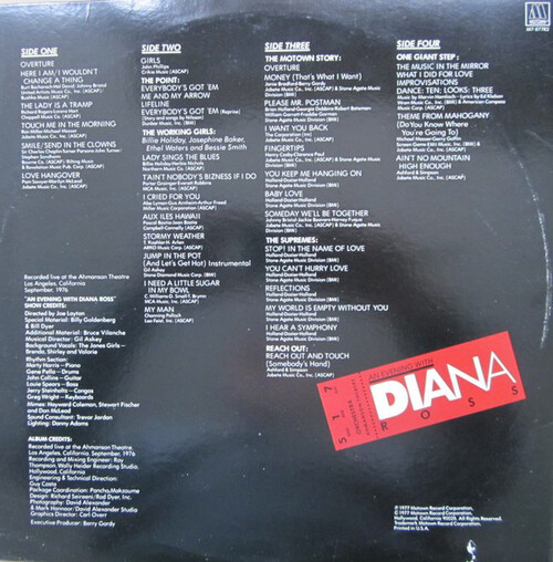 "Diana Ross - 1977 : Album "" An Evening With Diana Ross "" Motown Records M7-877R2 [ US ]"
