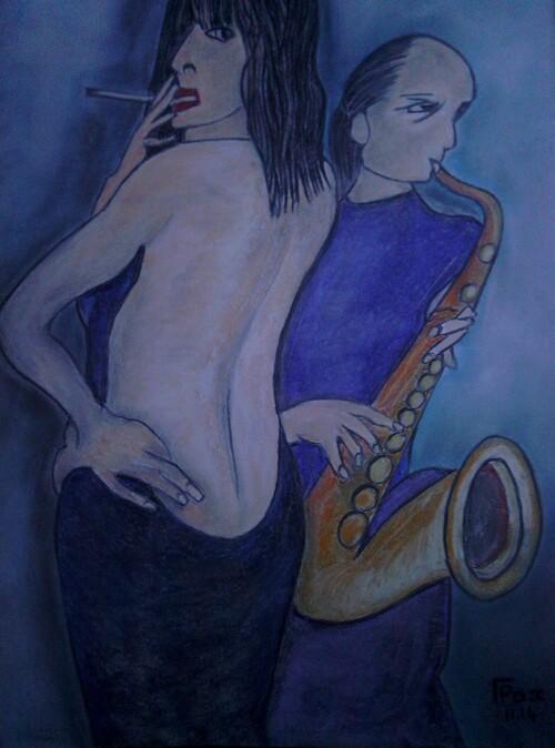 Le Saxophoniste. (Pastel sec)