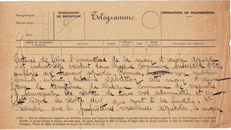 Télégramme organisation des récoltes 6/8/1914