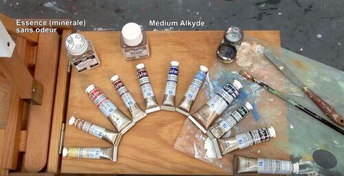 Dessin et peinture - vidéo 2307 : Une palette et le matériel pour débuter la peinture acrylique.