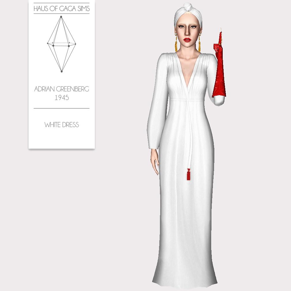 ADRIAN GREENBERG 1945 WHITE DRESS