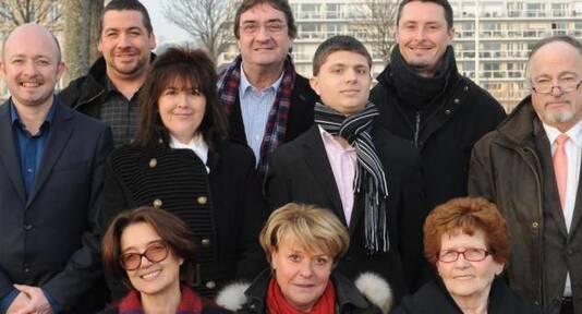 Pierre-Élie Pheulpin, 21 ans, ici au centre, lors de la présentation des candidats FN aux départementales. Damien Lenoir, à gauche (photo archive)