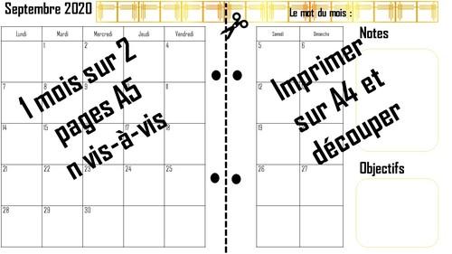 Planning 2020 : mensuel Septembre + semaine 36 à télécharger