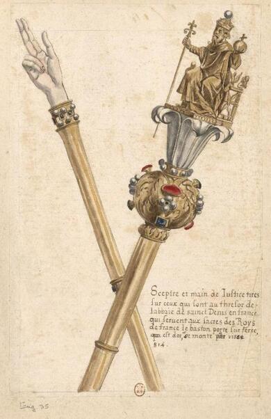 Le Sceptre et la Main de Justice de Charlemagne (papier, encre, aquarelle de Louis Boudan [1670-1715]