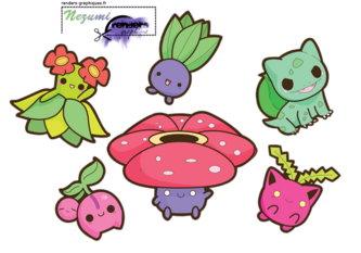 Render Pokemon - Renders A Little Kitty Pokemon Plante Cute Chibi Kawaii Mystherbe Rafflesia Granivol Bulbizarre Ceribou Joliflor