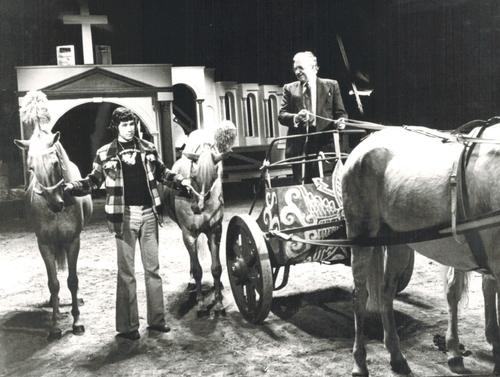 Jean-Pierre Richard et Jean Richard pour la promotion de Ben Hur en 1975