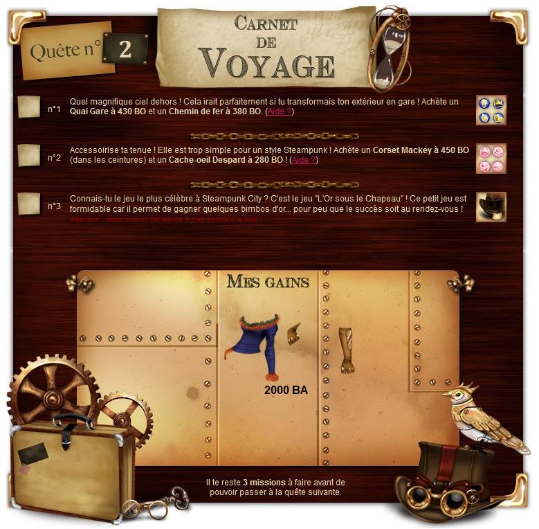 Les quêtes - Carnet de voyage