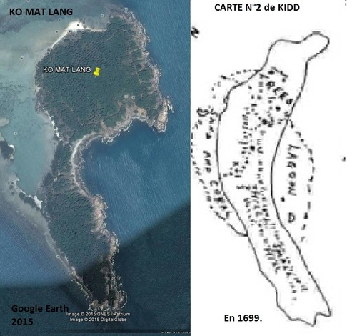 île au trésor de la carte N°2 de KIDD est KO  MAT LANG.(Photo Google Earth) (Albert Fagioli)