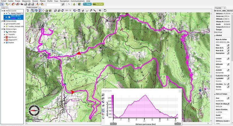 Sortie vélo sur piste forestière de Cagire (en montée) et route en (descente) : Milhas, Sengouagnet, Col de Buret, La Couage, Col d'Aillos, Col de Menté, Pont de l'Oule, Sengouagnet, Milhas