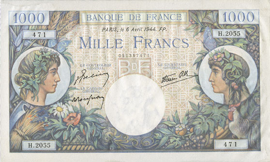 Billets Banque de France. Billet. 1000 francs, Commerce et Industrie, 6.4.1944