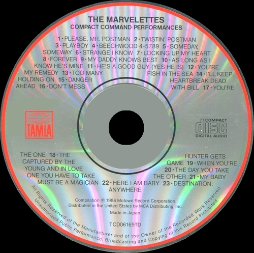"The Marvelettes : CD "" Compact Command Performances 23 Greatest Hits "" Tamla Records TCD06169TD [ US ]"