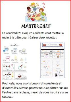 Réaliser des recettes en classe