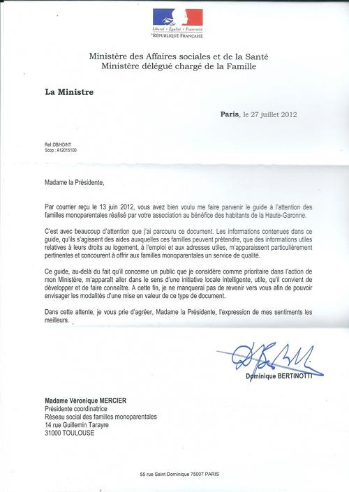 Le Ministre délégué à la famille écrit à RSFM