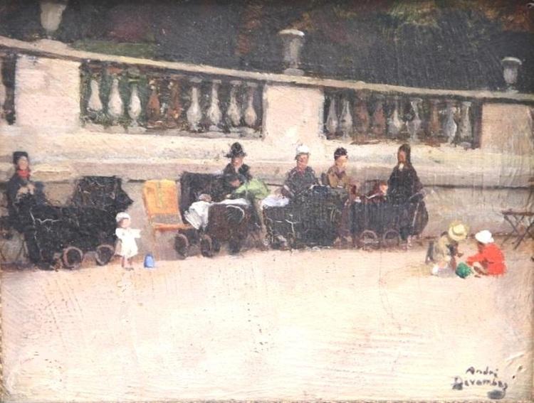 André Devambez (1867-1944). Peintre français. Devant la terrasse des reines du jardin du Luxembourg