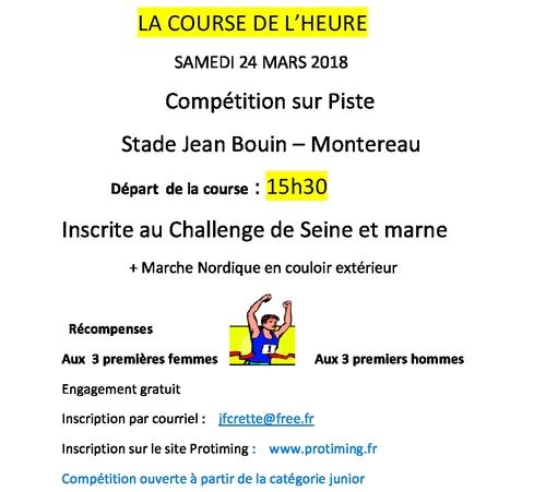 ⇒ Course de l'heure et marche nordique à Montereau. 2017.