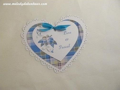 Faire part rond et coeur madras bleu et blanc