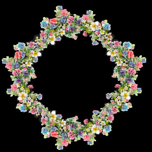 cadre rond fleuris