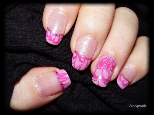 - Nail art - French water-marble + vidéo