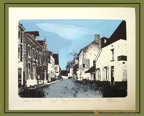 """Sérigraphies """"Villes et villages"""", inspirées de cartes postales anciennes: Rebecq, Rue Basse - Arts et sculpture: artiste peintre, illustrateur, sculpteur"""