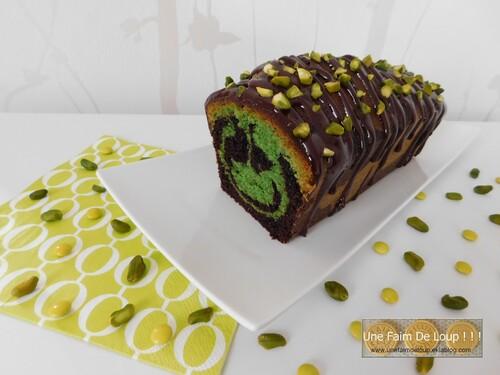 Cake marbré chocolat et pistache
