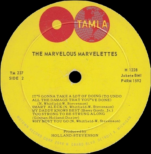 "The Marvelettes : Album "" The Marvelous Marvelettes "" Tamla Records TM 237 [US]"