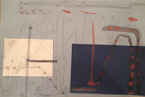 Croquis de machines à la manière de Léonard de Vinci