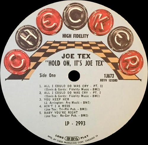 "Joe Tex : Album "" Hold On ! It's Joe Tex "" Checker Records LP-2993 [ US ]"