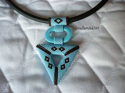 Collier 3D Turquoise -chocolat 2