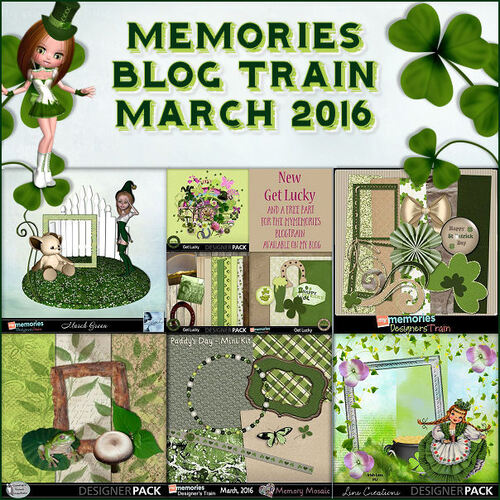 My Memories - Blog Train March Green