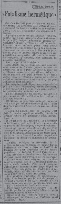 Fatalisme hermétique (L'Express du Midi, 26 juillet 1912)