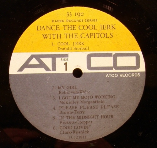 """The Capitols : Album """" Dance The Cool Jerk With The Capitols """" Atlantic Records SD 33-190 [ US ]"""