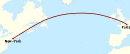 Plan de vol de l'Oiseau blanc: trajectoire nord-ouest s'incurvant peu à peu pour arriver au sud-ouest au sud du Groenland