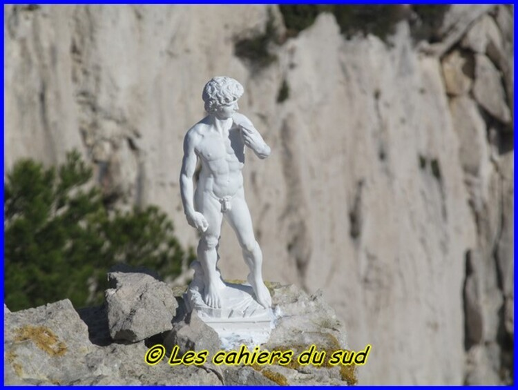 Calanques, la statue de David...