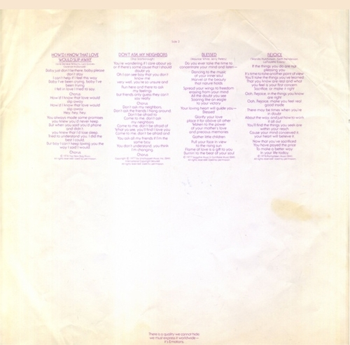 "The Emotions : Album "" Rejoice "" Columbia Records PC 34762 [ US ]"