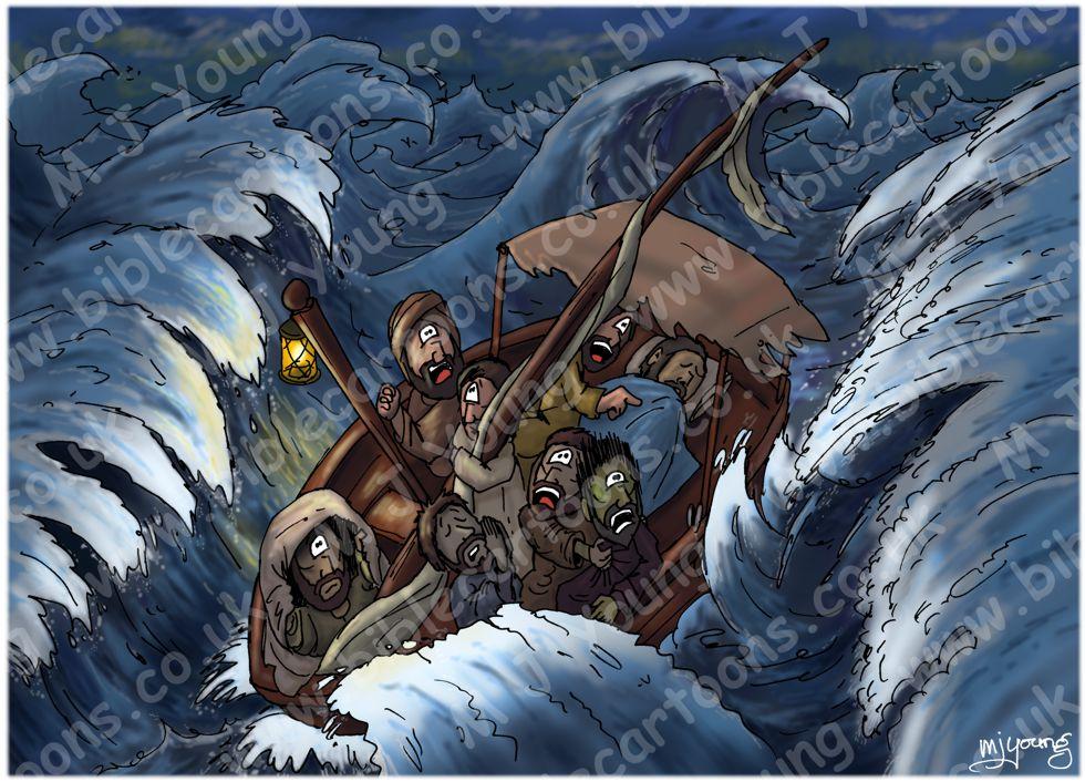 Mark 04 - Jesus calms a storm - Scene 03 - Jesus sleeps (Dark version)