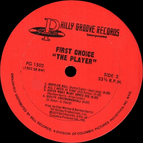 "First Choice : Album "" The Player "" Philly Groove Records PG 1502 [ US ]"
