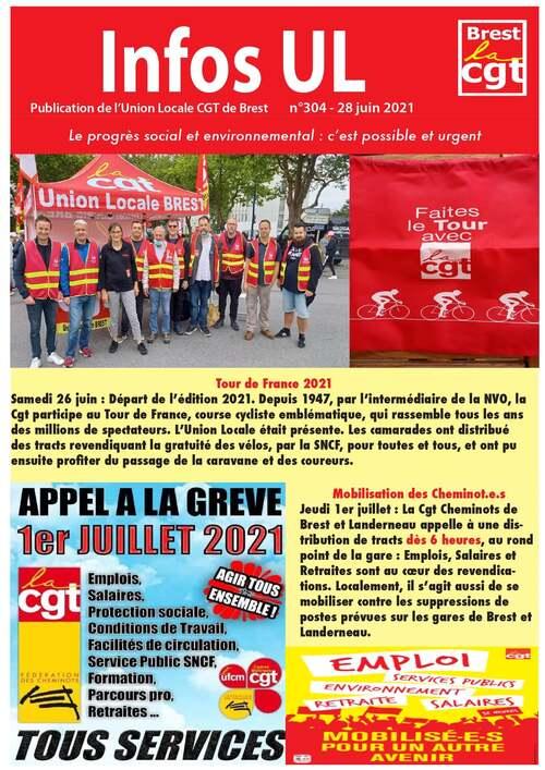 Informations UL CGT Brest du 28 juin et mobilisation le 1er juillet. ( Fb.com / 28/06/21 )