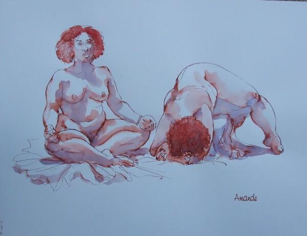 Jeudi - Encre sanguine et aquarelle bleue