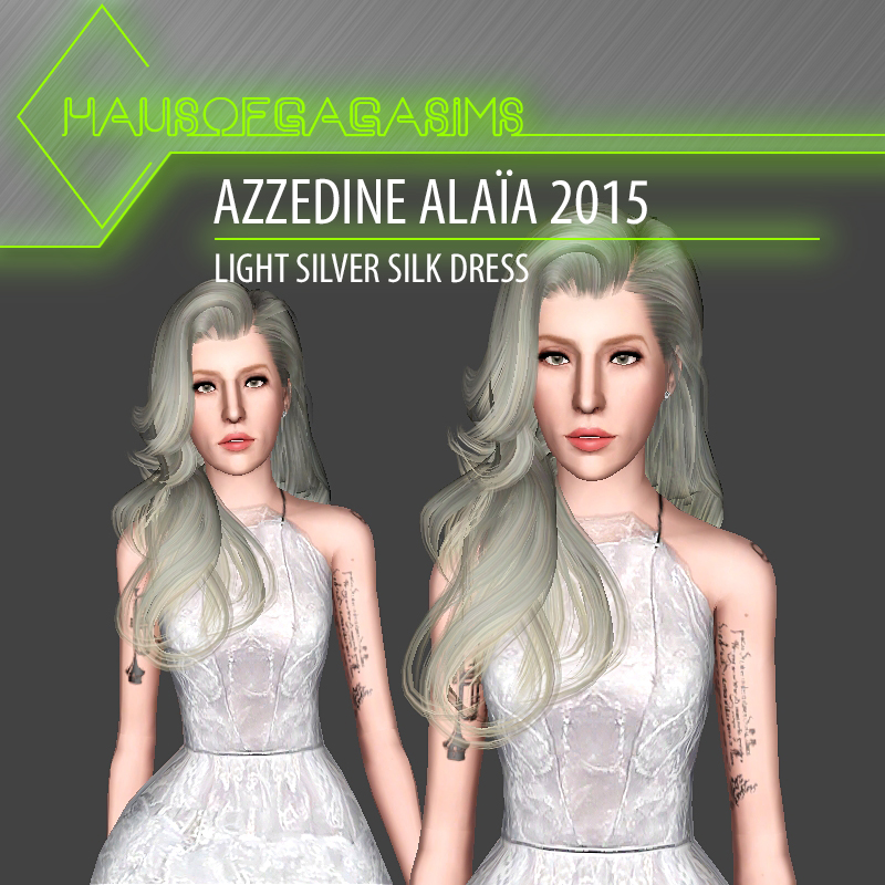 AZZEDINE ALAÏA 2015 LIGHT SILVER SILK DRESS