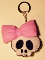 ♥ porte-clef pink pin-up skull ♥
