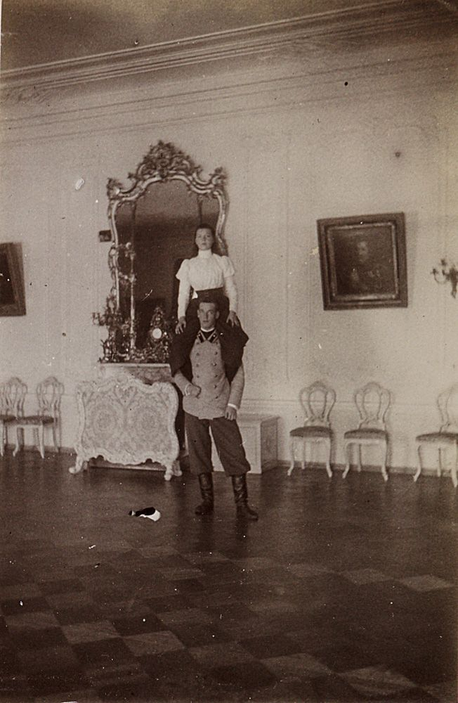 Grand Duchess Olga Alexandrovna and Grand Duke Michael Alexandrovich in Gatchina. Late 1890's: