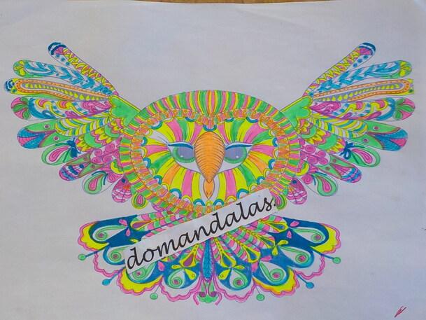DOMANDALAS  coloriage chouette ailes déployées