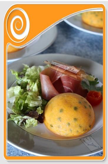 Flan de carotte et  petit pois
