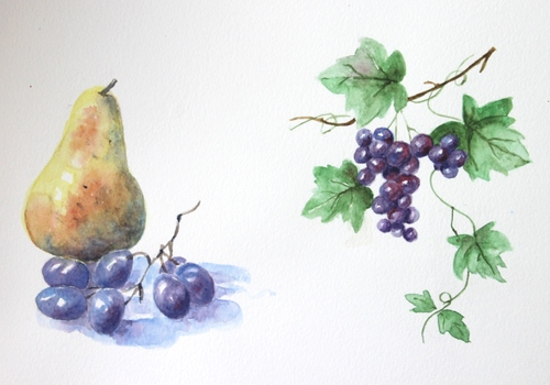 Fruits et légumes à l'aquarelle