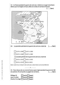 Evaluation Histoire La Guerre de Cent Ans