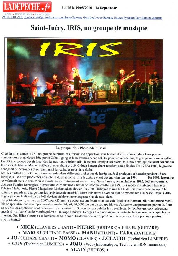 Article de la Dépêche du Midi 29-08-2010