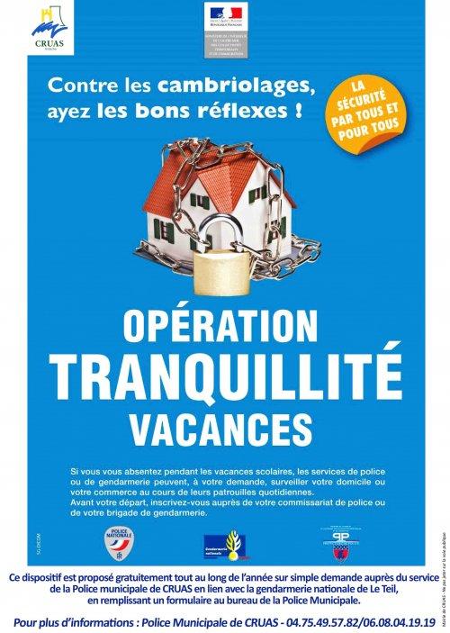 Opération Tranquillité Vacances  Ayez les bons réflexes !