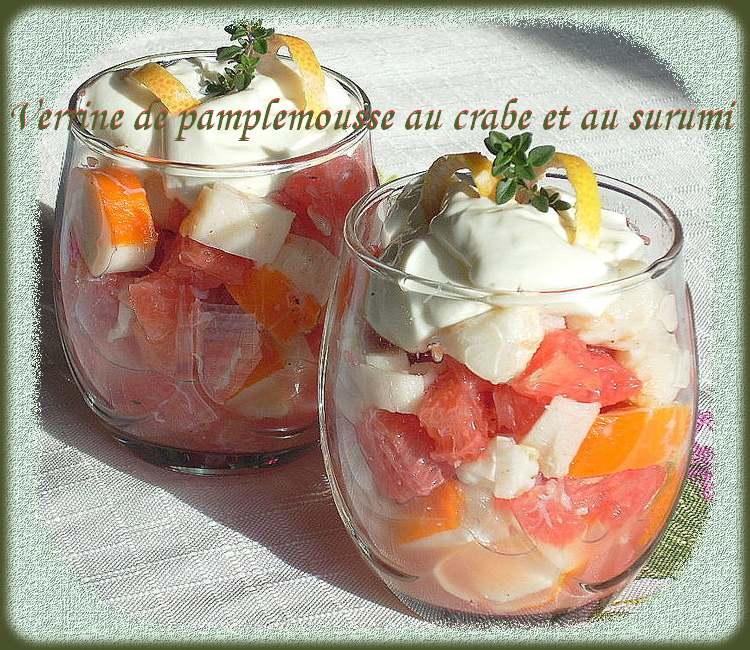 Recette de cuisine : Verrine de pamplemousse au crabe et au surumi